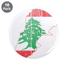 "Lebanon Flag and Map Wood.png 3.5"" Button (10 pack"