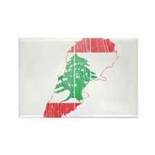 Lebanon Flag and Map Wood.png Rectangle Magnet