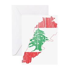 Lebanon Flag and Map Wood.png Greeting Card