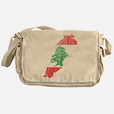 Lebanon Flag and Map Wood.png Messenger Bag