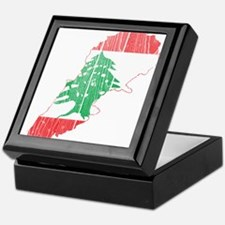 Lebanon Flag and Map Wood.png Keepsake Box