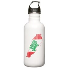 Lebanon Flag and Map Wood.png Water Bottle