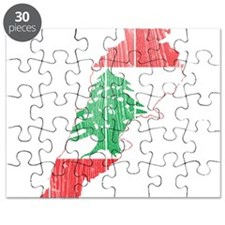 Lebanon Flag and Map Wood.png Puzzle