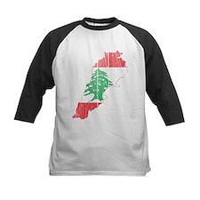 Lebanon Flag and Map Wood.png Tee