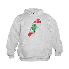 Lebanon Flag and Map Wood.png Hoodie