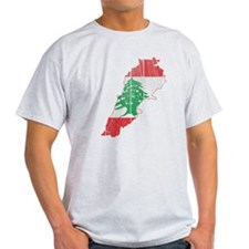 Lebanon Flag and Map Wood.png T-Shirt