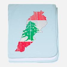 Lebanon Flag And Map baby blanket
