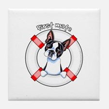 Boston Terrier First Mate Tile Coaster