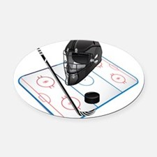 Hockey Oval Car Magnet