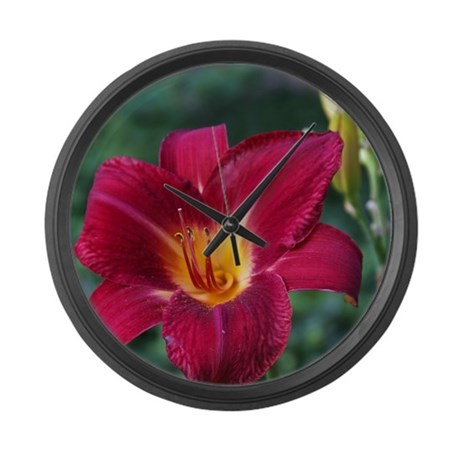 Maroon Lily Large Wall Clock