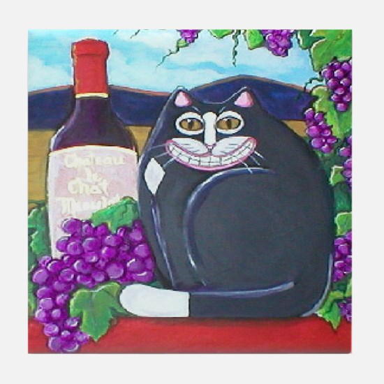 Winery Cat Tile Coaster