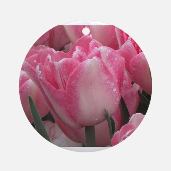 Pink Tulips Ornament (Round)