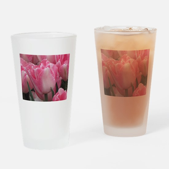 Pink Tulips Drinking Glass