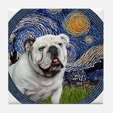 Starry Night - White English Bulldog Tile Coaster