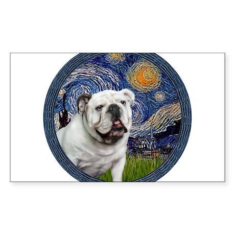 Starry Night - White English Bulldog Sticker (Rect