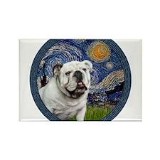 Starry Night - White English Bulldog Rectangle Mag
