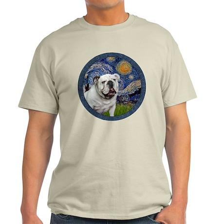 Starry Night - White English Bulldog Light T-Shirt