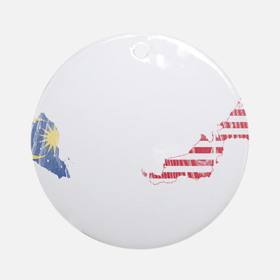 Malaysia Flag And Map Ornament (Round)