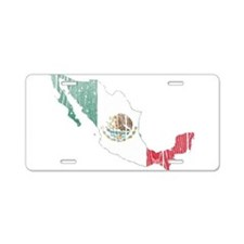 Mexico Flag And Map Aluminum License Plate
