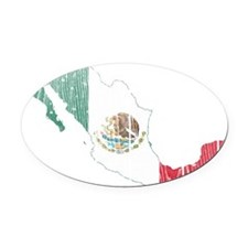 Mexico Flag And Map Oval Car Magnet
