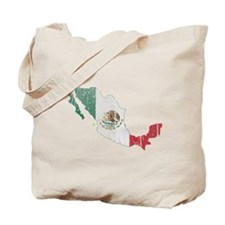 Mexico Flag And Map Tote Bag