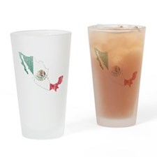 Mexico Flag And Map Drinking Glass