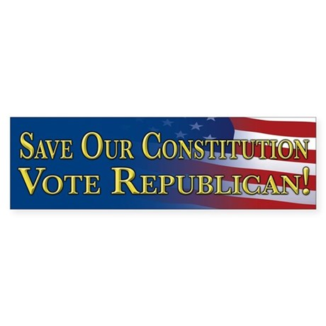Save Our Constitution Vote Republican! Sticker (Bu