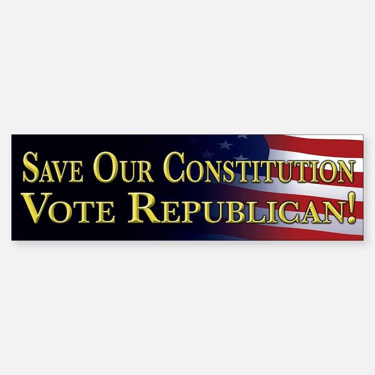 Save Our Constitution Vote Republican! Bumper Bumper Sticker