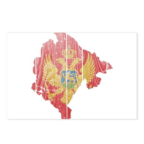 Montenegro Flag And Map Postcards (Package of 8)