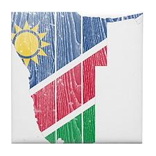 Namibia Flag And Map Tile Coaster