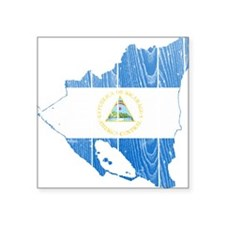 """Nicaragua Flag And Map Square Sticker 3"""" x 3"""""""