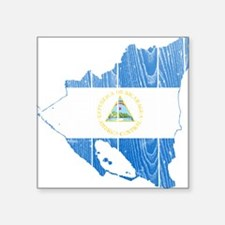 "Nicaragua Flag And Map Square Sticker 3"" x 3"""
