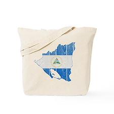 Nicaragua Flag And Map Tote Bag