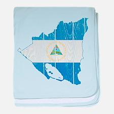 Nicaragua Flag And Map baby blanket