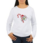 Candy Cane Mouse Women's Long Sleeve T-Shirt