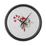 Candy Cane Mouse Large Wall Clock