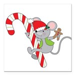 Candy Cane Mouse Square Car Magnet 3