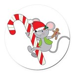 Candy Cane Mouse Round Car Magnet