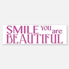 Smile you are Beautiful, Fuchsia Bumper Bumper Sticker