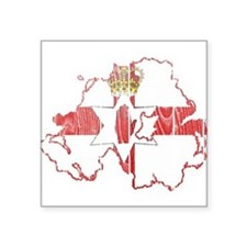 "Northern Ireland Flag And Map Square Sticker 3"" x"