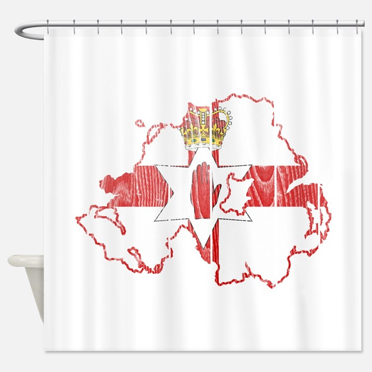 Northern Ireland Flag And Map Shower Curtain
