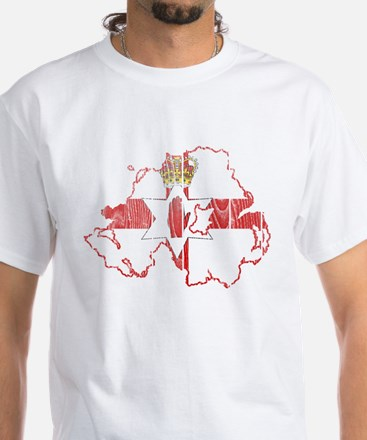 Northern Ireland Flag And Map White T-Shirt