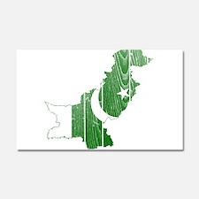 Pakistan Flag And Map Car Magnet 20 x 12