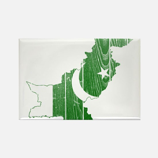 Pakistan Flag And Map Rectangle Magnet