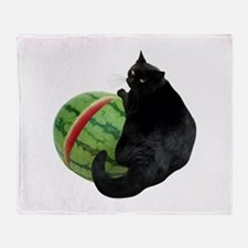Cat with Watermelon Throw Blanket