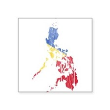 "Philippines Flag And Map Square Sticker 3"" x 3"""