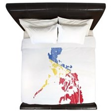 Philippines Flag And Map King Duvet