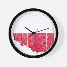 Poland Flag And Map Wall Clock