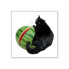 "Cat with Watermelon Square Sticker 3"" x 3"""