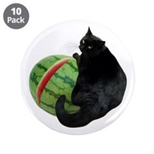 """Cat with Watermelon 3.5"""" Button (10 pack)"""